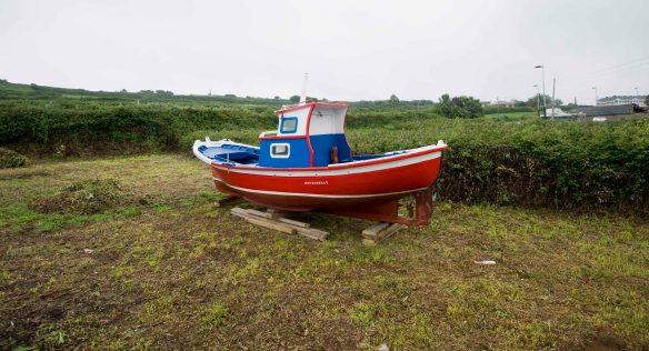 Boat in field