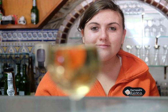 Caterina with glass half empty