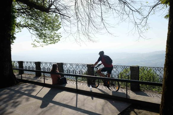 cyclist on terrace