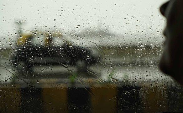 cab in rain