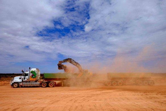 Truck loading gravel