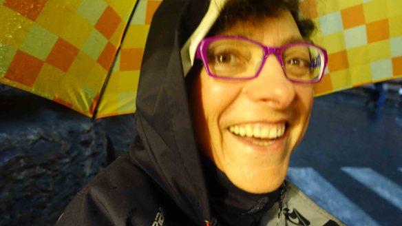 Marie under umbrella