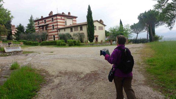 Angie taking shot of villa