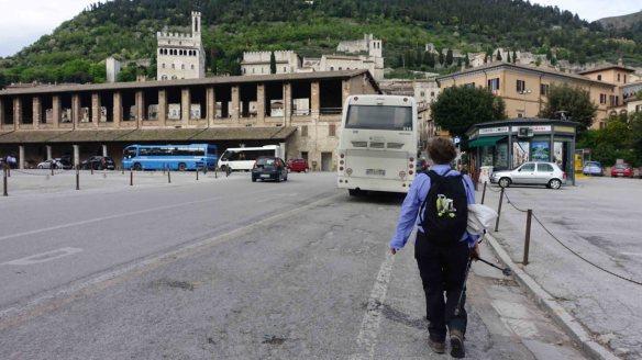 Angie walking into Gubbio