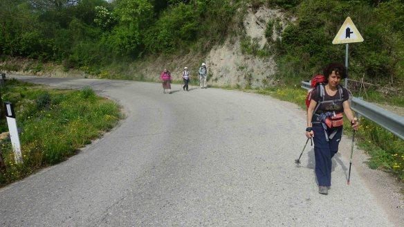 Giovanna leading up hill