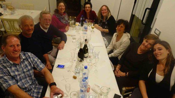 group shot at dinner Pietrulunga