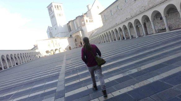 Jen walking to basilica