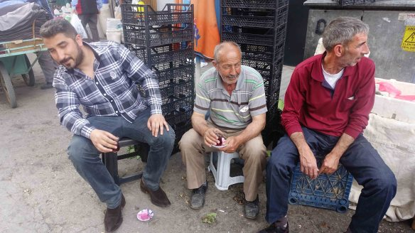 Men near fish market