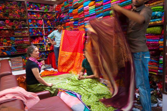 Jen in fabric store