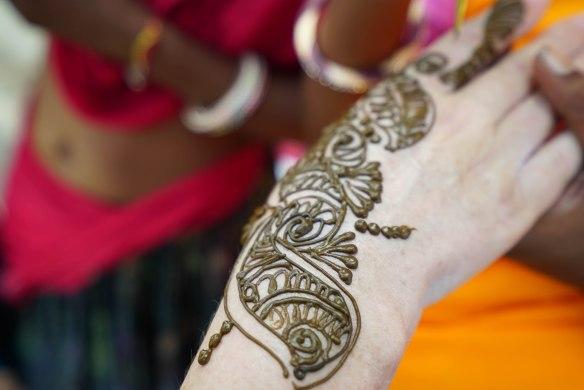 close on henna hand