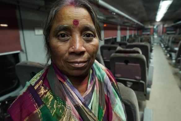 lady on train