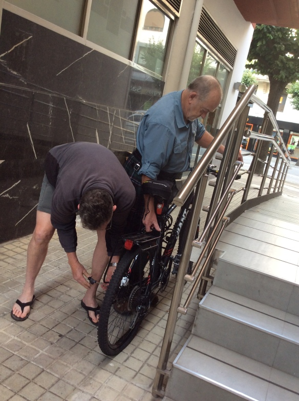 Mike and David reassembling the bike